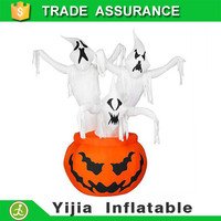 6.9 Feet Airblown 3 Ghosts In Pumpkin Lights Up Totally Halloween inflatable Ghoul