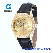 2015 ofcourse branded skeleton automatic mechanical gold dial watch flower on the case