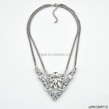 V shape double chain with glass flower gemstones necklace