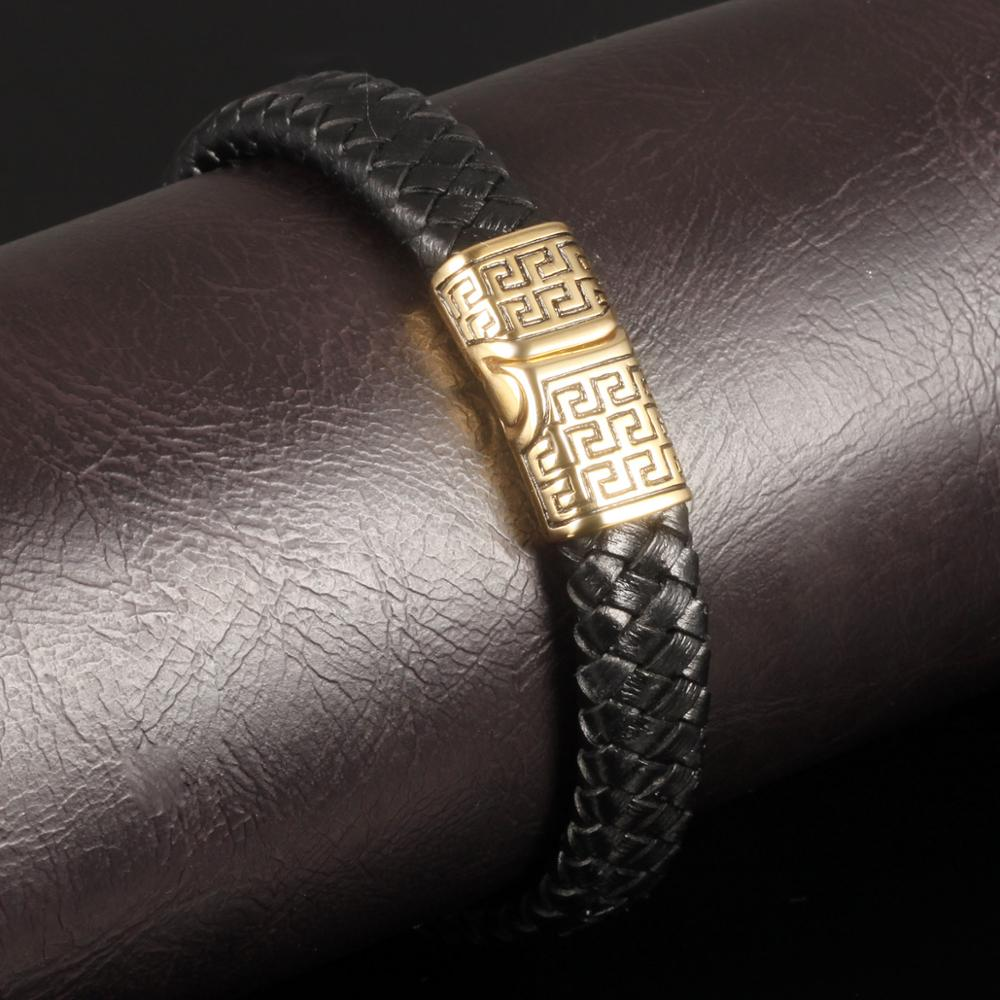 Popular 2018 Hot Sell Usa Black Braided Men Leather Bracelets With Magnetic Clasp