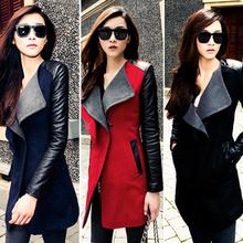 New Fashion Women Overcoat Lady Long Coat Warm Leather Jacket Winter Coat plus size 18970
