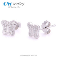 Fashion Sterling Silver Butterfly Shaped Real Earring Studs