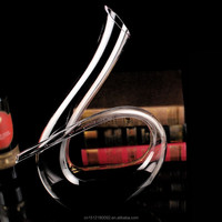 "wholesale ""6"" shape Flat Bottom Decanter Crystal Red Wine Decanter Glass Decanter"