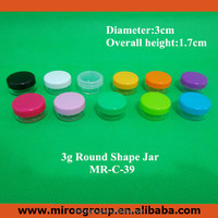50pcs/lot 3g eyelash glue container ,recycled use acrylic cosmetic cream pot , colorful small lids for eye shadow jars