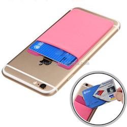 lycra&microfiber removable 3m sticker smart phone wallet card holder