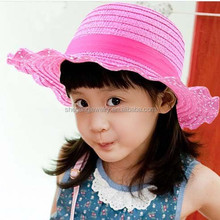 Cute Children Baby Girls Summer Sun Straw Hat with bowknot lace