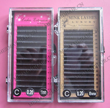 AAA grade silk mink eyelash extension, 0.03/.05/.07/.10/.12/.15/.18/.20/.23/.25/.30mm thickness