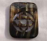 Water buffalo horn pendant, black with vein horn color, size 6cm x 7.8cm