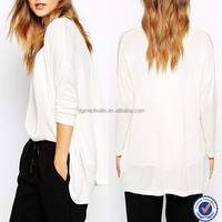 blouse collar neck designs tops women dropped shoulder blouse blank white plain knit cardigan
