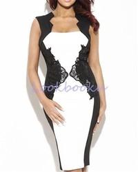 2015 Plus Size New Design Women Clothing Black White Lace Patchwork Sleeveless Sexy Bodycon Dress