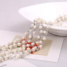 hot sale The new boutique pearl rhinestone chain chain claw shoes clothing bags diamond jewelry diamond shaped decorative access