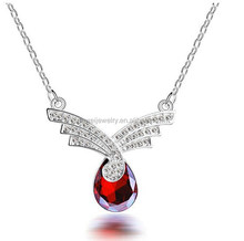 Wing style ruby diamond 925 silver chain necklace