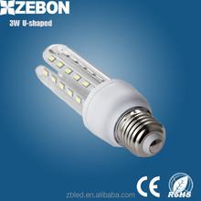 Hot Sale! Glass E27 E14 B22 Led U Shape light Corn Tube Lamp Bulb AC110v