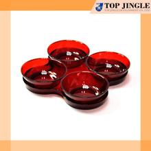 Multipurpose rodada acrílico vermelho simples 4 maneira prato de comida