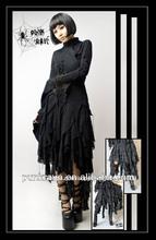 Punk rave gótico al por mayor negro correa larga falda q-079