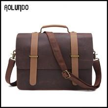 China trend man 13.5inch vintage Crazy Horse leather handbag