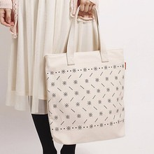 Yiwu Wholesale Cream Printed Flower Canvas Bag, Green Protect Purchase Tote Bag For Ladies