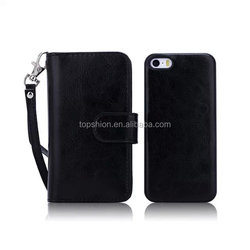 Premium Crazy Horse Pattern PU Leather Case for Apple iPhone 5 5S With Card Slots and Stand (Deluxe Black)