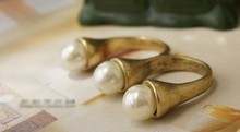 Hot sale Fashion Retro Simple Double Finger Rings Sweet Matte Pearl Rings For Women 068KKR