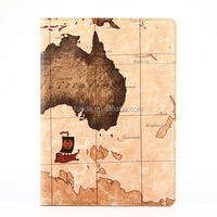 New Design Kickstand Map Leather Case For ipad air 2