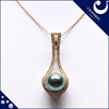 11-11.5mm diameter round shape black color akoya pearls pendant pearl jewelry high quality with 18K Yellow Gold chain