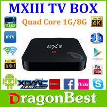 MX3 III Android 4.4 Smart TV Box XBMC S802 Quad Core 4K Miracast+Rii i8 MXIII 4k android tv box