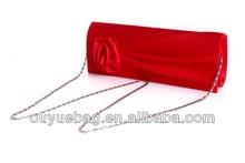 2015 new fashion ladies beauty rose satin evening clutch bag wholesale women silk bag
