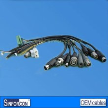 BNC female with DC 5.5/2.1 video capture cable for cctv moritor
