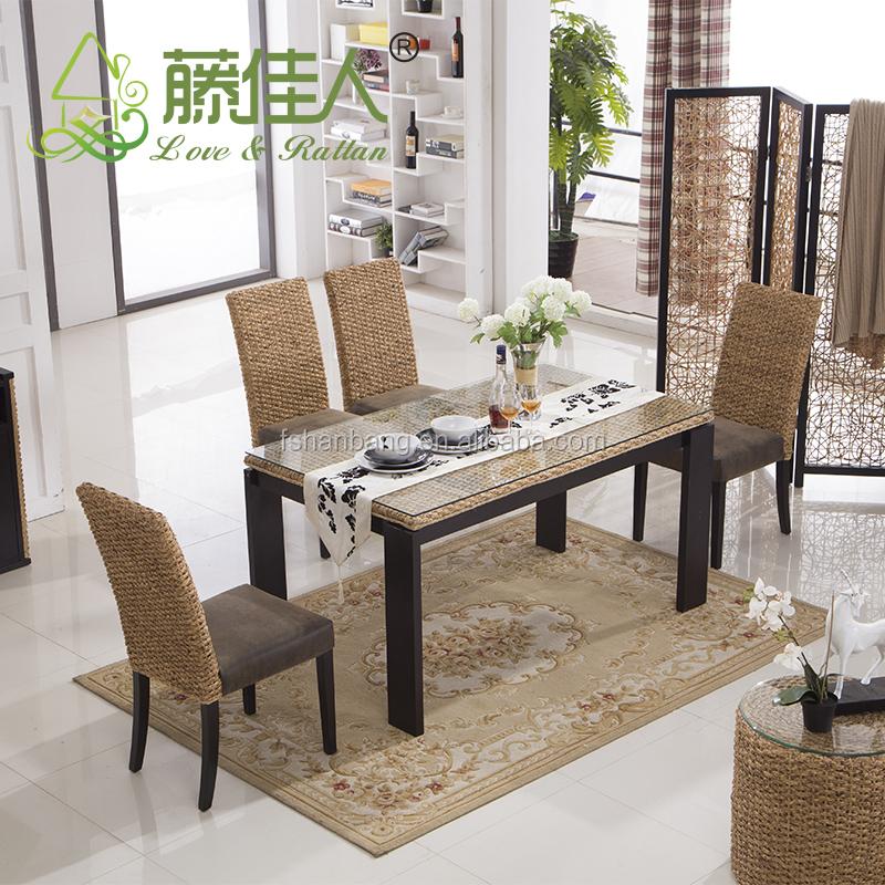 Java thuis wonen veranda natuurlijke waterhyacint bamboe rotan eettafel stoelen set bali stijl - Woonkamer rotan voor veranda ...