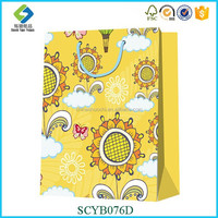 Korea Style Yellow Folding Shopping Bag Paper Bag With Logo Print Promotional Latest Arrival poly foldable shopping bag