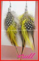 2013 Cheap Feather Earrings Yellow Rooster Feather Earrings Long Feather Earring