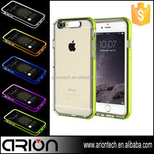 Hot tpu and pc combo bumper light tube rock phone case cover for iphone 6