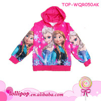 2014 Hot sale fashion hot pink black snow frozen elsa baby coat