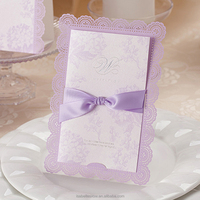 Free printing lavender bowknot lace design laser cut handmade wedding invitation card