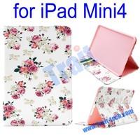 Wholesale flower images wallet flip PU Leather Case for iPad Mini 4