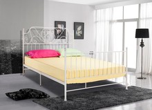 Home bedroom metal furniture white wrought iron double bed