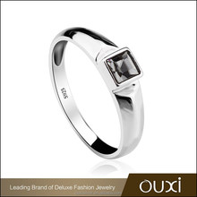 OUXI 925 sterling silver jewelry manufacturer black diamond rings Y70069