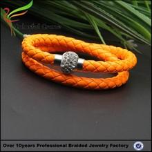 2015 jewelry sets wholesales double round orange magnetic clasp leather wrap bracelet clasp