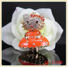 Fashion dancing kitty jewelry crystal keychain