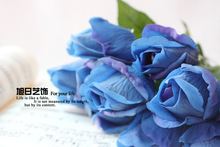 Real touch PU artificial flowers rose red/blue/white Wedding party Home decorative artificial flores arrangement bouquet A033