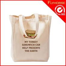 standard size white tote customized logo eco cotton shopping bag