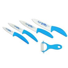 """5 pezzi blu fiore di ceramica lama del coltello set ultra nitide da cucina lo chef posate coltelli 3""""4""""5"""" 6""""+ pelapatate in ceramica e copre nuovo di zecca"""