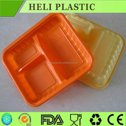 3 Compartments blister plastic lunch food container wholesale