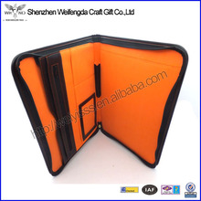 High Quality A4,A5 Genuine Leather Pocket Padfolio With Zipper