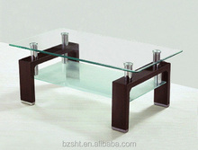 cheap and simple wooden leg glass top coffee table