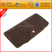 Custom vintage style crazy horse genuine leather men wallet long wallets