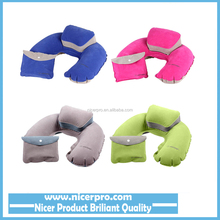 Folding Inflatable U Shape Air Pillow Outdoor Travel Neck Blow Up Cushion Portable PVC Flocking Office Plane Pillows