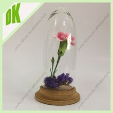 //6*8 , 6*10 , 10*20 , 11*25 ,etc size// Clear mini glass cake dome with Wooden Base