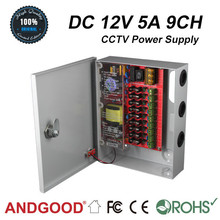 ac/dc regulated switching mode 5a 12v 9ch cctv power supply