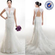 OEM Sleeveless Chiffon Lace Keyhole Back Wedding Dresses 2015
